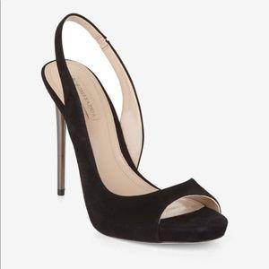BCBG Prue Leather Suede Black Slingback Heels 5.5